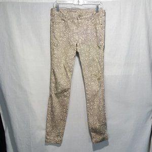 Free People Stretch Skinny Tan Floral Jeans Sz 28
